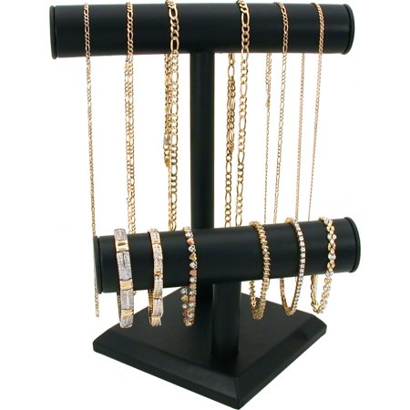 Double T Bar Black Leatherette Display Jewelry Stand