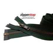 "ZipperStop Wholesale Authorized Distributor YKK® 27"" inch Medium Weight Jacket Zipper YKK #5 Antique Brass ~ Separating ~ 890 Hemlock Green (1 Zipper/pack) Crafter's Special"