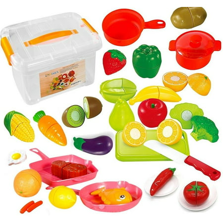 Funerica Set Of Pretend Food Playset For Kids   Includes Play Food   Cutting Play Fruits And Vegetables   Poultry   Mini Pots And Pans   Cutting Board  Knife And More
