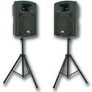 """Seismic Audio Pair POWERED 15""""  PA/DJ SPEAKERS & Stands - PWS-15PairPKG1"""