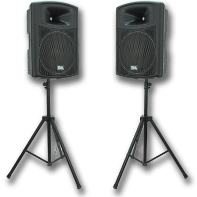 """Seismic Audio Pair  Molded 15"""" PA/DJ Speakers and Stands ..."""