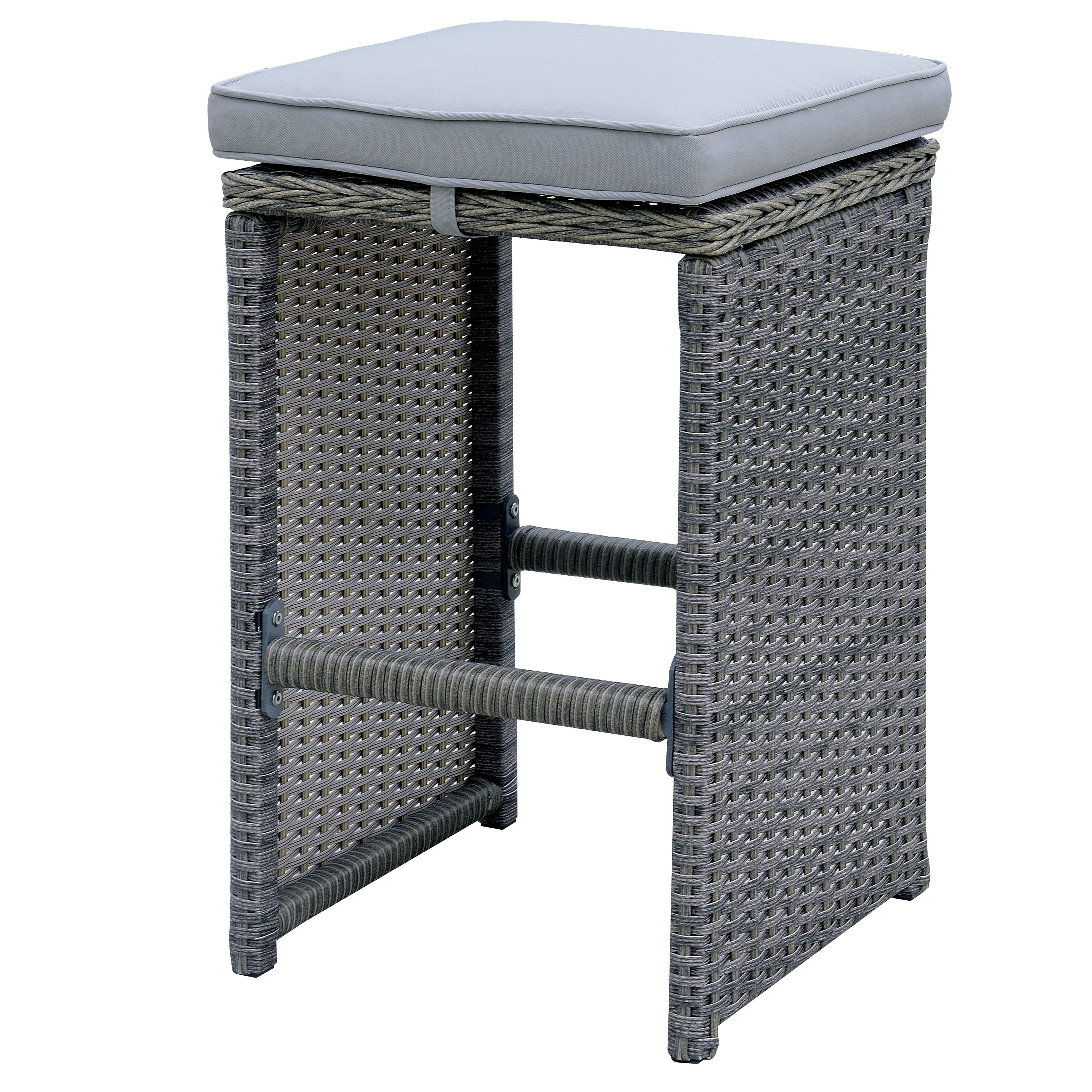 Furniture of America  Liley Contemporary Outdoor Grey Wicker Bar Stool (Set of 6)