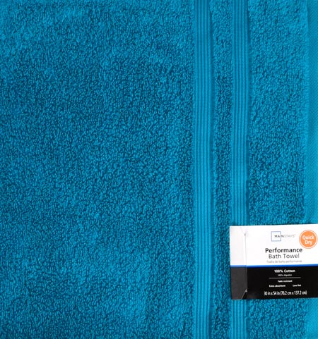 Mainstays Performance Quick Dry Solid Bath Towel- Teal Sachet by Trident Limited