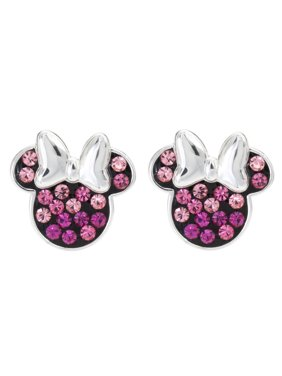 558913950 Image Disney Minnie Mouse Sterling Silver Multi Pink Crystal Stud Earrings.  Disney Jewelry