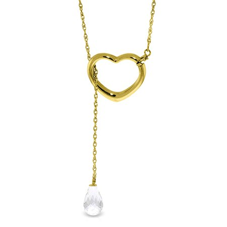 ALARRI 14K Solid Gold Heart Necklace w/ Drop Briolette Natural White Topaz with 18 Inch Chain