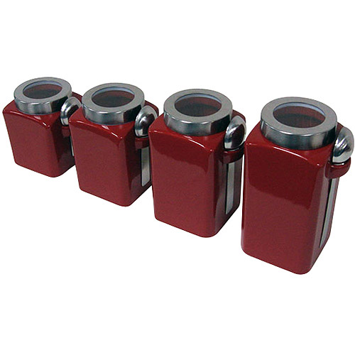 4-Piece Canister Set, Crimson
