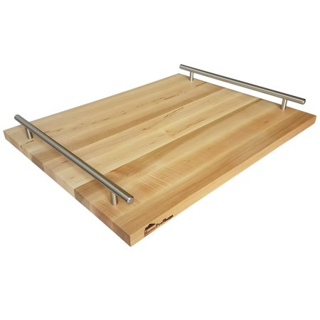 Homeproshops Wood Serving Tray Cheese Board W 2 Steel Bar Pull Rail Handles 34 X 15 X 19 Solid Maple Butcher Block Cutting Board W Mineral Oil