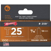 Arrow 259 9/16-Inch T25 Round Crown Staples, 1000 Count