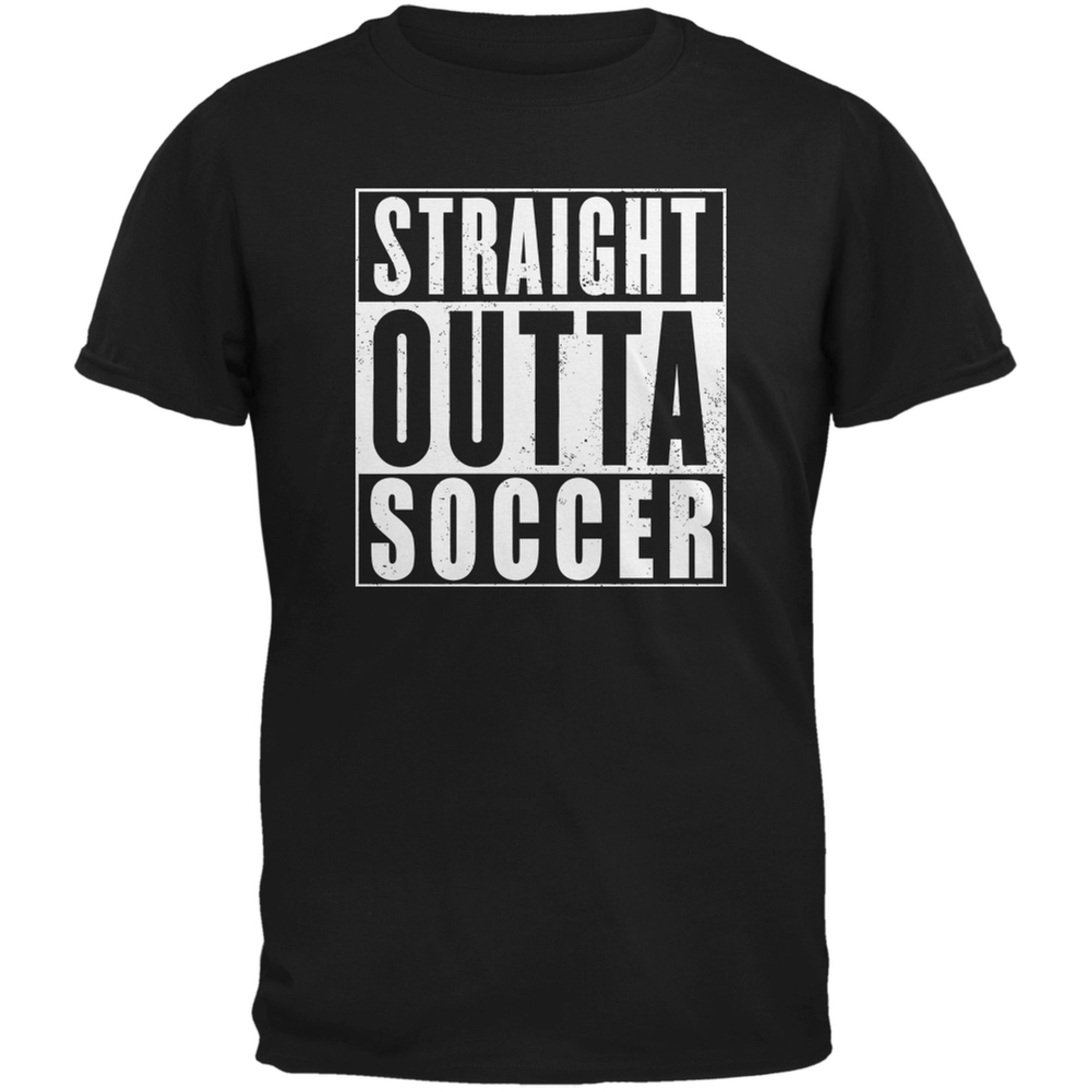 Straight Outta Soccer Black Adult T-Shirt