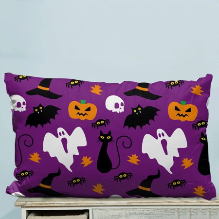 GCKG Funny Hallowen Time Ghost Pumpkin Halloween Pillow Case Pillow Cover Pillow Protector Two Sides 20 x 30 Inches (Funny Pumpkin Ideas For Halloween)
