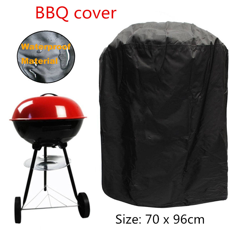 70 X 96cm Round Waterproof BBQ Cover For Outdoor Barbecue Garden Patio Grill Protector