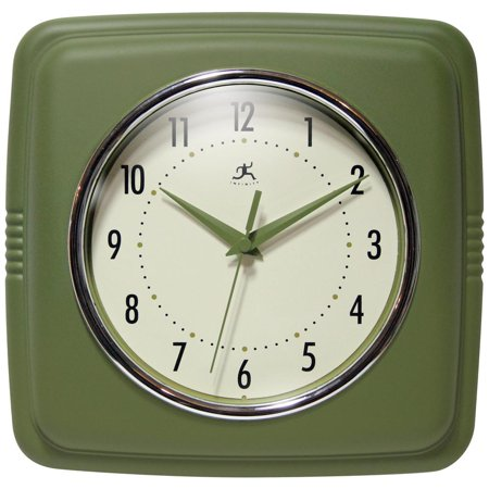 9.25 in Square Wall Clock, Green Finish Case, Glass Lens, Second Hand, Silent (Moss Green Rose Clock)