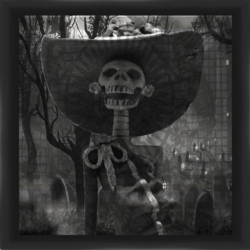 PTM Images Skeleton in Hat Framed Graphic Art