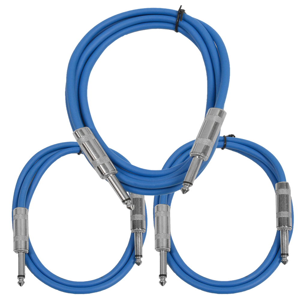 """Seismic Audio  3 Pk of Blue 1/4"""" TS Patch Cables  - One 6 ft One 3 Ft, One 2 ft Blue - SASTSX-3C-Blue"""