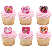24 Barbie Be The Future Cupcake Cake Ring Birthday Party Favor Toppers