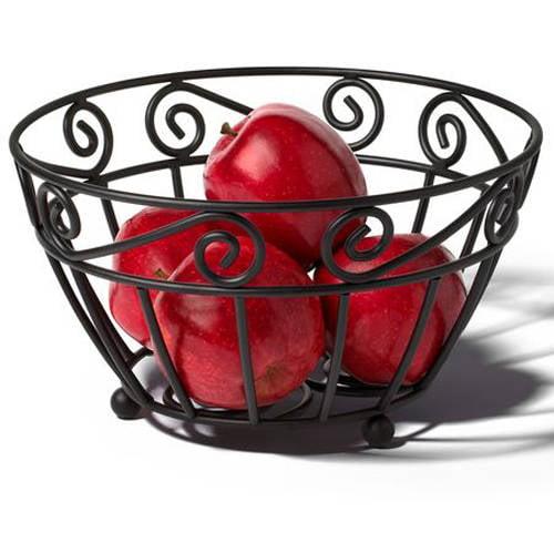 Spectrum Scroll Fruit Bowl, Black