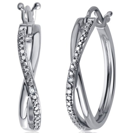 Elegant 0.01 Cttw Natural Diamond Accent Twisted Hoop Earrings In 14K White Gold Plated 0.25 Ct Tw Hoop