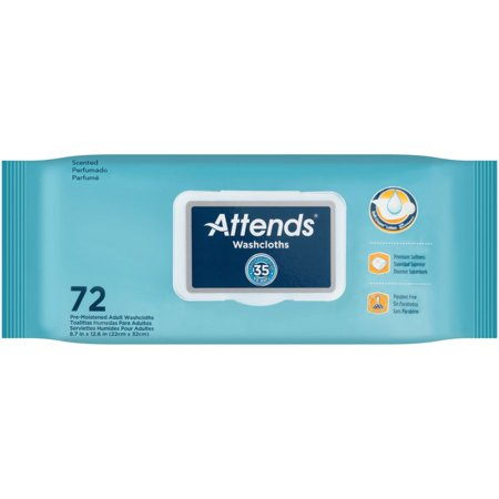 Attends Scented Washcloths ''8 x 12.5 , Case of 72 - 10 Pack