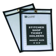 C-Line Stitched Shop Ticket Holders, Both Sides Clear, 5 x 8 Inches, 25 per Box (46058)