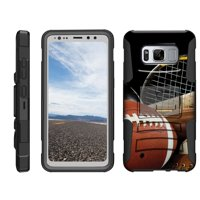 TurtleArmor ® | For Samsung Galaxy S8 Active G892 [Hyper Shock] Rugged Dual Layer Hybrid Armor Kickstand Holster Belt Clip Case - Athletic Player