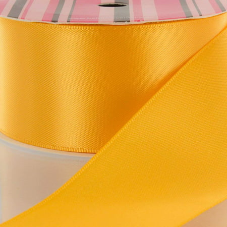 "2.25"" Yellow Gold Double Faced Satin Ribbon 100yd"