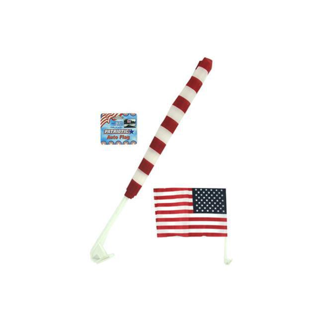 Bulk Buys AA140-72 Plastique / Nylon Flag Auto patriotique avec une -tiquette volante - Cas de 72 - image 1 de 1