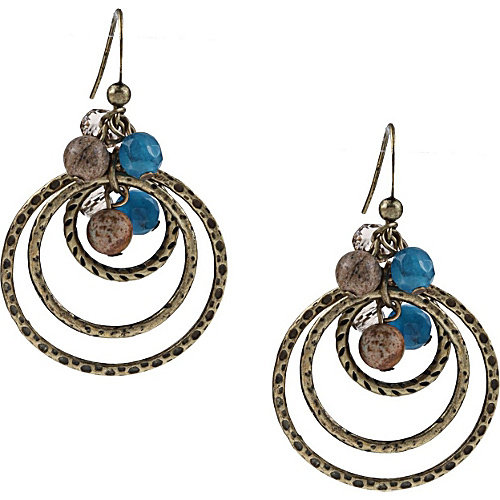 Alexa Starr Picture Jasper and Blue Jade Hoop Earrings