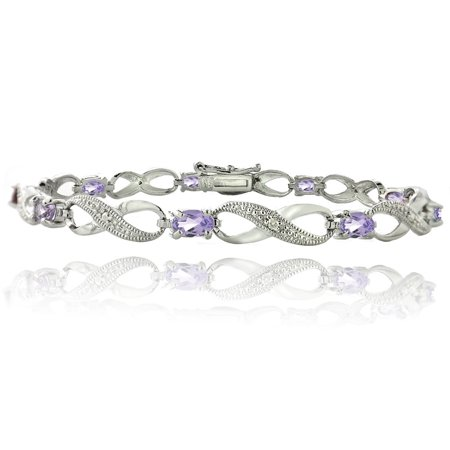 1.80ct Amethyst & Diamond Accent Infinity Bracelet in Silver Tone