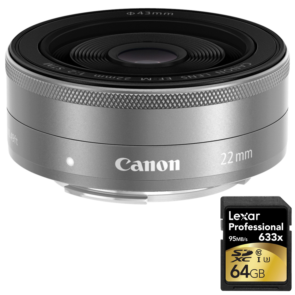 Canon EF-M22mm F2 STM (SL) 9808B002 with Lexar 64GB Professional 633x SDXC Class 10 UHS-I U3 Memory Card Up to 95 Mb s by Canon