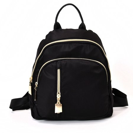 Fancyleo Fashion Women Small Backpack Travel Nylon Handbag Shoulder Bag Black