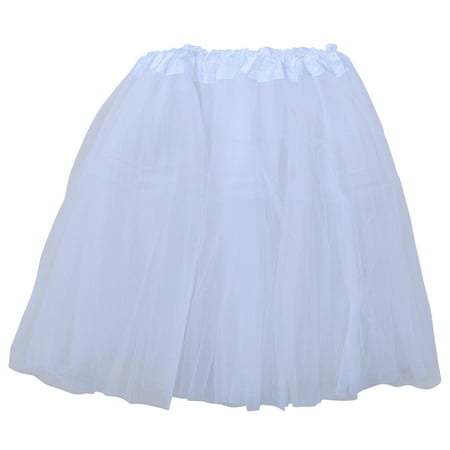 7774692af White Adult Size 3-Layer Tulle Tutu Skirt - Princess Halloween Costume, Ballet  Dress, Party Outfit, Warrior Dash/ 5K Run - Walmart.com
