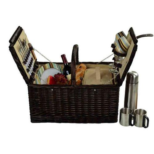 Picnic at Ascot 713C-SC Surrey Picnic Basket for 2 with Coffee-Brown Wicker-SC Stripe