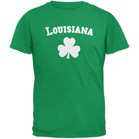 St. Patrick's Day - Louisiana Shamrock Irish Green Adult T-Shirt - Shamrock Skirt