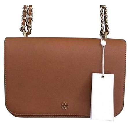 Tory Burch Emerson Adjustable Shoulder Saffiano Leather in (Gold Tory Burch Bag)