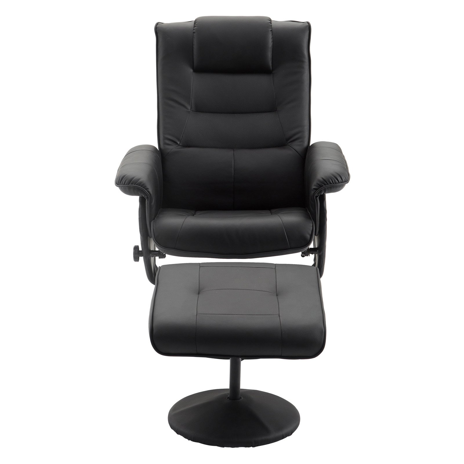Cloud Mountain Faux Leather Swivel Reclining Chair With Ottoman