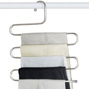 S Shape Multilayer Stainless Steel Magic Pants Hangers Space Savers Storage Rack for Hanging Jeans Scarf Tie
