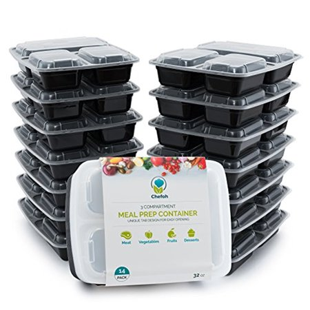 14-Pack 3 Compartment Meal Prep Containers with Lids, 32 oz | Reusable Microwavable Divided Food Storage (Divided Server Lid)