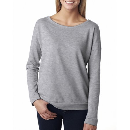Branded Next Level Ladies French Terry Long Sleeve Scoop - HEATHER GRAY - M (Instant Saving 5% & more on min