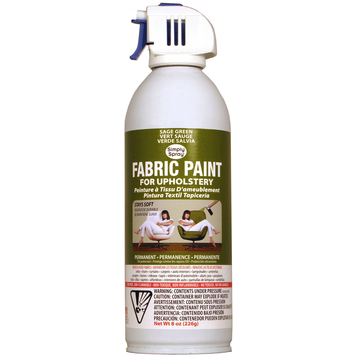Upholstery Spray Fabric Paint 8oz-Sage Green