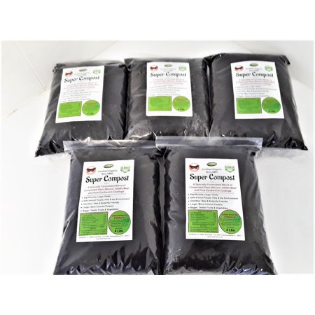 Super Compost Worm Casting blend. 5 - 4 Lb Bags. Concentrated Strength (Makes 100 Lbs) Specially Formulated blend of Beef Cow Compost, Alfalfa and Pure Earthworm Castings. Certified Organic, Odorless. (Co Post)