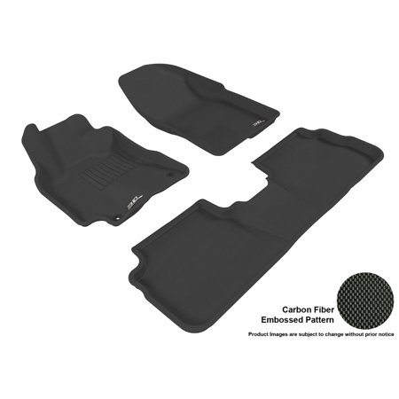 3D MAXpider 2009-2013 Toyota Corolla Front & Second Row Set All Weather Floor Liners in Black with Carbon Fiber Look