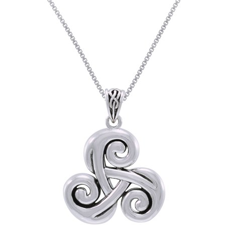 Sterling Silver Celtic Spiral Triskele Trinity Knot Pendant on 18 Inch Box Chain Necklace