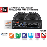 Dual Electronics XC17SP High Resolution LCD Single DIN Car Stereo Receiver with Built-In Bluetooth, USB, MP3, Siri/Google Assist Button & Two 2-Way High Performance 6.5-inch Car Speakers