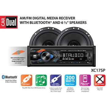 Dual Electronics XC17SP High Resolution LCD Single DIN Car Stereo Receiver