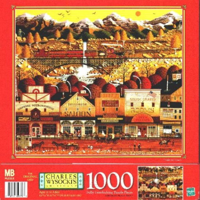 Charles Wysocki Americana 1000 Piece Jigsaw Puzzle Train to Town 1999 Release by Milton Bradley by