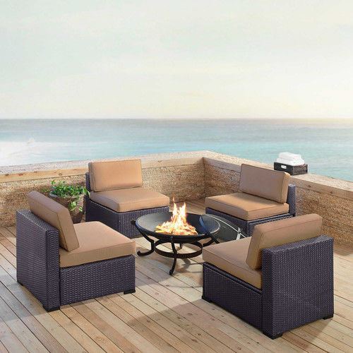 Biscayne 4 Person Outdoor Wicker Seating Set In Mocha - Four Armless Chairs, Ashland Firepit