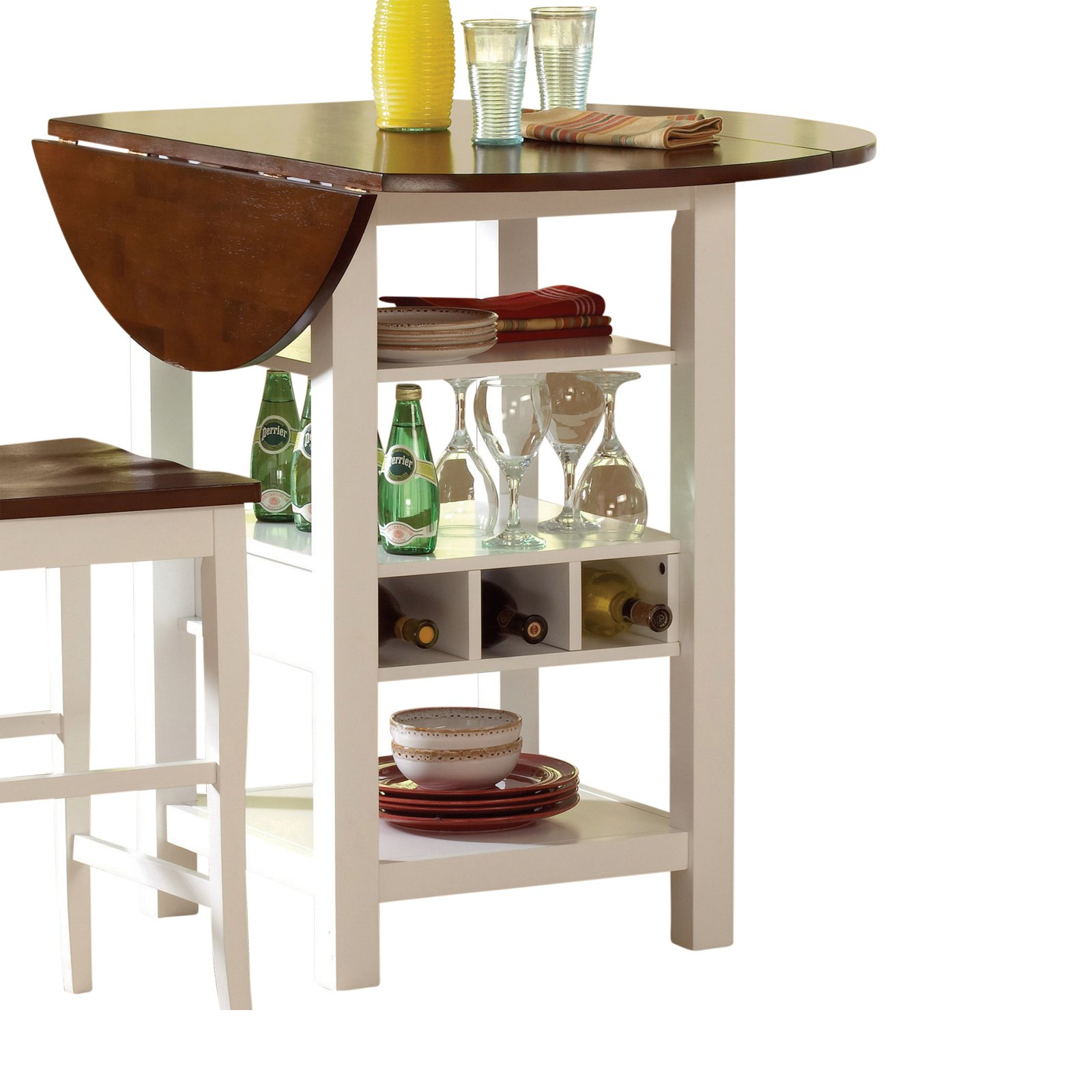 Ridgewood White Round Dining Table With Built In Wine Rack Walmart Com Walmart Com