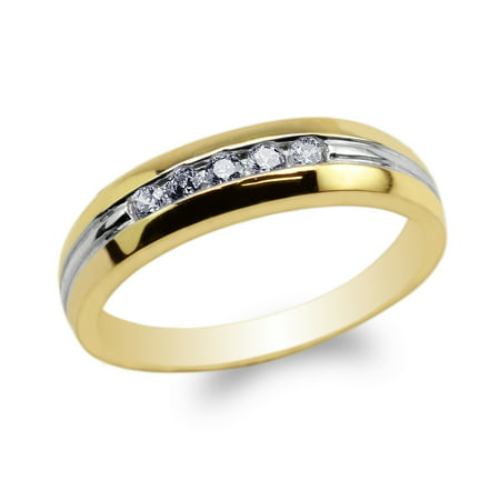 Womens 10K Yellow Gold Two Tone Lines Round CZ Embedded Wedding Band Ring Size 4-9