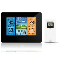 Wireless Weather Station TSV Forecast Station with 200ft Wireless Range, Large Backlit Color LCD, Atomic Clock, Accurate Temperature, Humidity, and Temperature/Time Alert