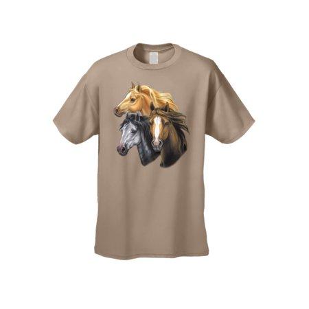 Men's/Unisex T Shirt Golden Black & Brown Horses Short Sleeve - Horse Short
